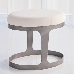 Studio A Oslo Stool - Iron w/Muslin Cushion