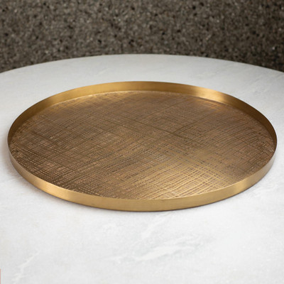 Studio A Plaid Etched Tray - Antique Brass