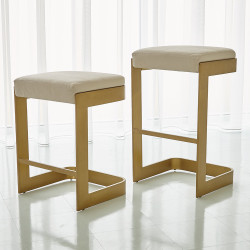 Studio A Regan High Bar Stool w/Ivory Leather - Antique Brass
