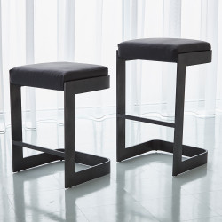Studio A Regan Low Bar Stool w/Black Leather - Graphite