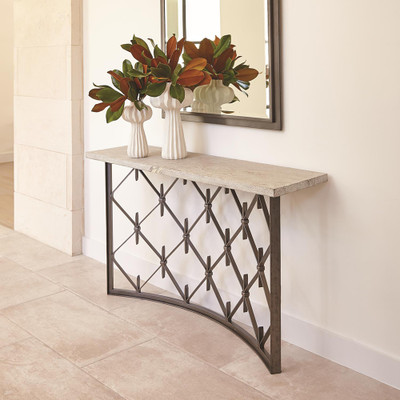 Studio A Sidney Console - Natural Iron w/Wood Plank Top