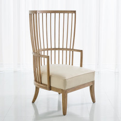 Studio A Spindle Wing Chair - Beige Leather