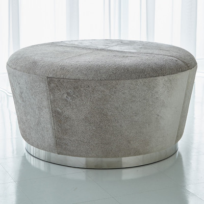Studio A Tapered Ottoman - Grey Hair - on - Hide