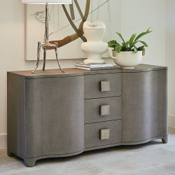 Studio A Toile Linen Credenza - Grey