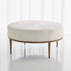 Studio A Urban Ottoman w/Ivory Hair - on - Hide - Antique Brass