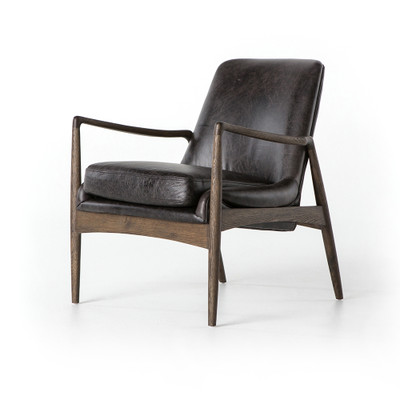 Four Hands Braden Leather Chair - Durango Smoke