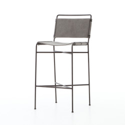 Four Hands Wharton Bar Stool - Stonewash Grey Canvas