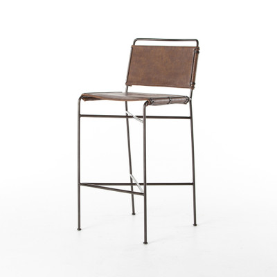 Four Hands Wharton Bar Stool - Distressed Brown