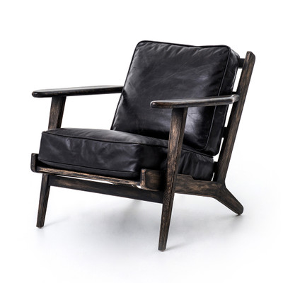 Four Hands Brooks Lounge Chair - Ebony, Blk Wsh Weath