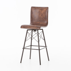 Four Hands Diaw Bar Stool - Havana/Waxed Black