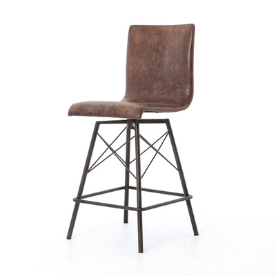 Four Hands Diaw Counter Stool - Havana/Waxed Black