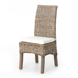 Four Hands Banana Leaf Chair W/Cushion - Grey Wash