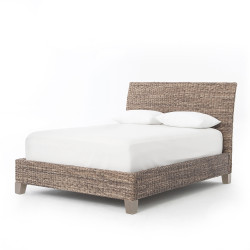 Four Hands Lanai Banana Leaf Queen Bed - Grey Wash