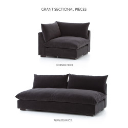 Four Hands Grant Armless Sofa - Henry Charcoal