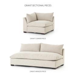 Four Hands Grant Armless Sofa Piece - Ashby Oatmeal