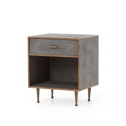 Four Hands Shagreen Bedside Table - Antique Brass