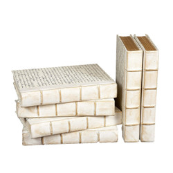 E Lawrence Antiqued White Parchment With Script Covers And Raised Bands - Coffee Table Size