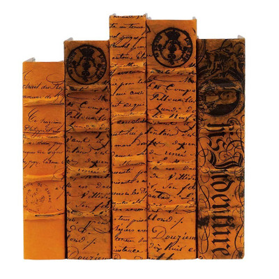 E Lawrence Antiqued Scripted Parchment Golden Orange