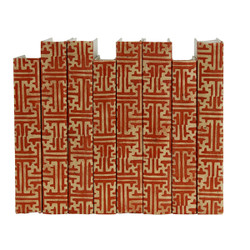 E Lawrence Orange Batik Maze Pattern