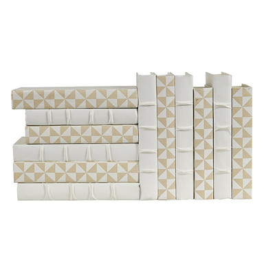 E Lawrence 12 Vol. Mix Of White Geometric On Cream And Solid White