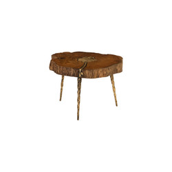 Phillips Collection Molten Coffee Table, Poured Brass In Wood