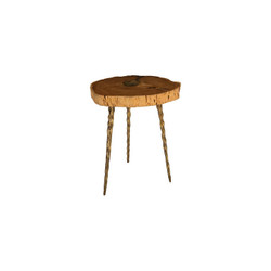Phillips Collection Molten Side Table, LG, Poured Brass In Wood