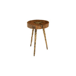 Phillips Collection Molten Side Table, SM, Poured Brass In Wood