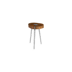 Phillips Collection Molten Side Table, SM, Poured Aluminum In Wood