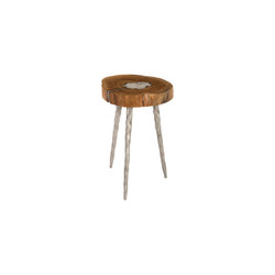 Phillips Collection Molten Side Table, LG, Poured Aluminum In Wood