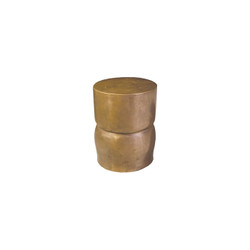 Phillips Collection Carved Stool, Polished Bronze