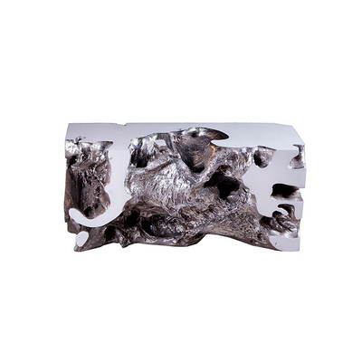 Phillips Collection Freeform Bench, White, Silver Leaf, SM