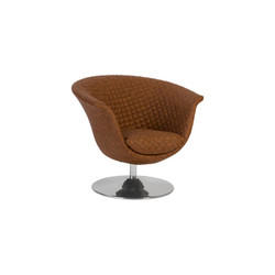 Phillips Collection Autumn Chair, Quilted Cognac, Trumpet Swivel Base, Polished Stainless Steel
