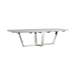 Phillips Collection Scaffolding Dining Table, Polished Stainless Steel Base