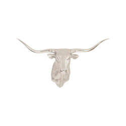 Phillips Collection Longhorn Bull Wall Art, Resin, Silver Leaf
