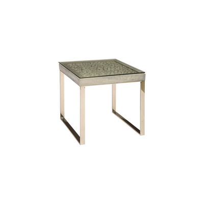 Phillips Collection Driftwood Side Table, Wood, Glass, Stainless Steel Base, Scaff Finish
