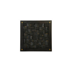 Phillips Collection Distressed Blocks Wall Tile, Wood, Glass, Black with Gold Leaf