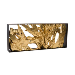 Phillips Collection Cast Root Console Table, Iron Frame, Resin, Gold Leaf
