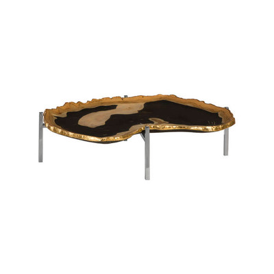 Phillips Collection Cast Petrified Wood Tray, Gold Leaf Edge, Resin, Stainless Steel Base