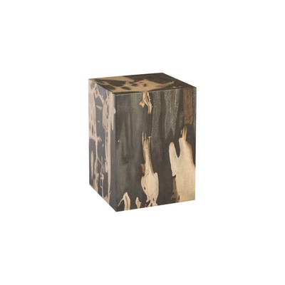 Phillips Collection Cast Petrified Wood Stool, Resin, Square