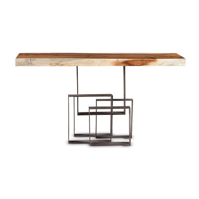 Phillips Collection Score Console Table, Chamcha Wood, Iron Base