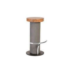 Phillips Collection Concrete Bar Stool, Chamcha Wood Top, Stainless Steel Footrest