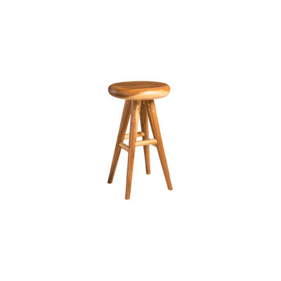 Phillips Collection Smoothed Bar Stool, Chamcha Wood, Natural, Round