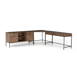 Four Hands Trey Desk System With Filing Credenza
