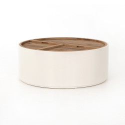 Four Hands Cas Drum Coffee Table - Cream