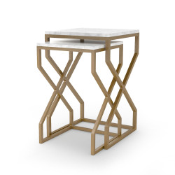 Four Hands Denni Nesting Tables - Matte Brass