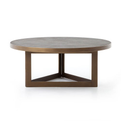 Four Hands Shagreen Round Coffee Table - Antique Bras