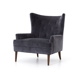 Four Hands Clermont Chair - Charcoal Worn Velvet