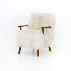 Four Hands Ashland Armchair - Mongolia Cream Fur