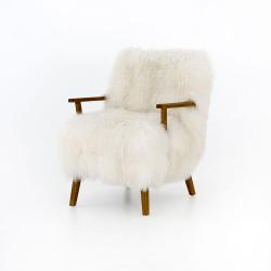 Four Hands Ashland Armchair - Mongolia Cream Fur