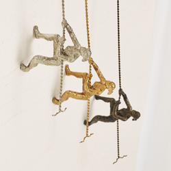 Global Views Climbing Woman - Wall Mounted - Thai Silver Leaf